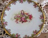 Fancy Austrian Plate With Wild Overflowing Basket of Flowers