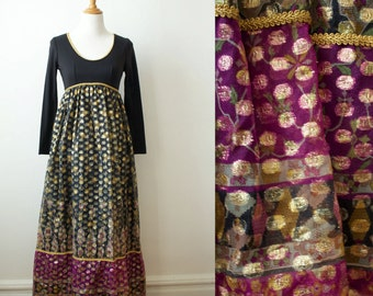 Vintage 1970s Black and Metallic Long Sleeve Maxi Dress
