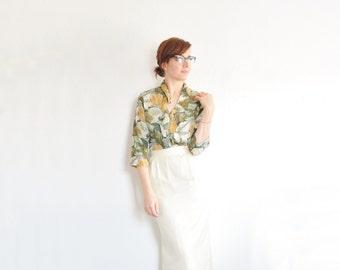 ivory spun silk skirt . high waist slim bone cream pencil skirt .extra small.xs