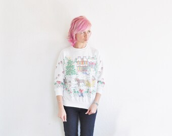 faux needlepoint holiday sweater . ugly Christmas party approved .small.medium .sale s a l e