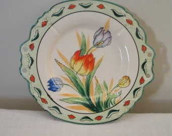 Vintage Hand Painted Tulip Plate - Japan