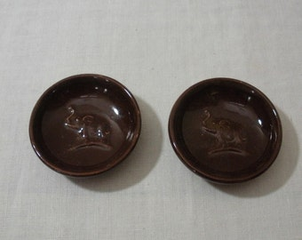 Vintage Dark Brown Pair of Elephant Saucers