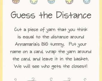 Guess the Distance - Baby Shower Game - Measure Mom's Tummy - Onesie Baby Shower Theme