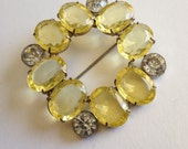 Reserved....Large Yellow Oval Rhinestone Brooch Luscious