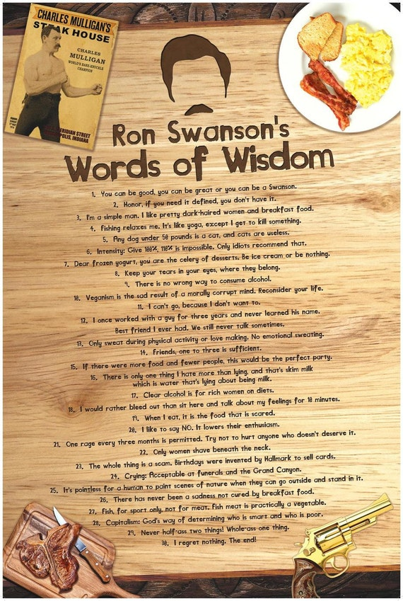 Ron Swansons Words of Wisdom Poster inspired by Parks and