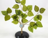 50% OFF SALE! Recycled Bottle Glass Tree, Bonsai Vintage Style Ming Tree, Olive Green Leaves with Whimsical Bluebird Charm