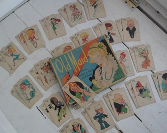 1930s Vintage Old Maid Card Game Whitman