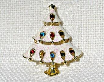 Christmas Tree Brooch Vintage 80s Jewelry Rhinestones Glitter
