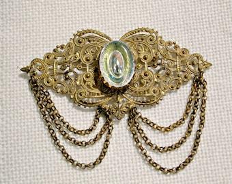 Art Deco Brooch Big Vintage 30s Costume Jewelry Filigree Glass