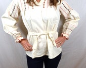 Vintage Ethnic Embroidered Cotton Tunic Top