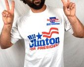 Vintage 1992 Bill Clinton Presidential Campaign Tee Shirt Tshirt  - XL