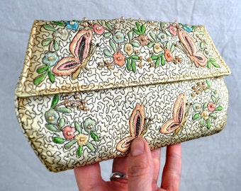 Vintage MidCentury Distressed Embroidered Floral Beaded Butterfly Clutch Purse - Lillian Brazil
