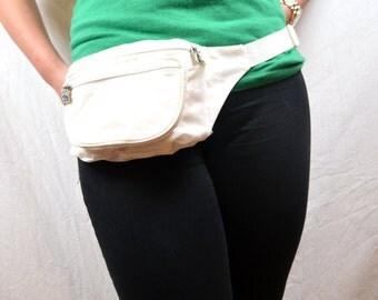 Vintage 80s 90s White Nylon Hip Fanny Pack