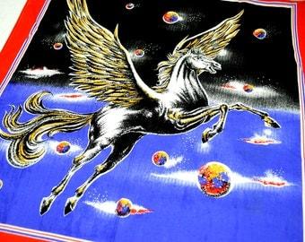 Vintage 80s Pegasus RAD Hankerchief Scarf Bandana - #B10