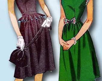 1940s Vintage Simplicity Sewing Pattern 1435 Uncut Misses Keyhole Dress Size 12
