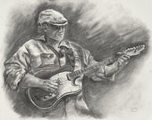Art Print of Original Charcoal Drawing Sketch Guitar Player