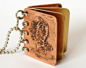 Mad Hatter - We Are All Mad Here - Metal Book Pendant - Copper, Brass with Etched Cover - Can Be Personalized