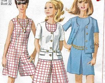 Uncut, Misses Size 12, Vintage 1960s Sewing Pattern, Simplicity 7159, Culotte - Dress, Sleeveless, Jacket, Coat, Woman, Suit, Woman, Pleats