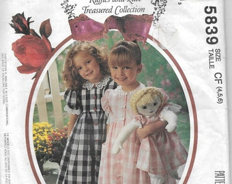 Uncut, Child Size 4-6, Sewing Pattern, McCall's 5839, Ruffles Lace Treasured Collection, Toddler Girl Dress Pantaloons, Matching Doll Dress