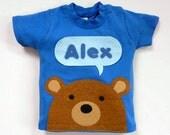 Organic Baby T-Shirt : Baby Boy Personalized Bear T-Shirt , Baby Shower, Baby Boy