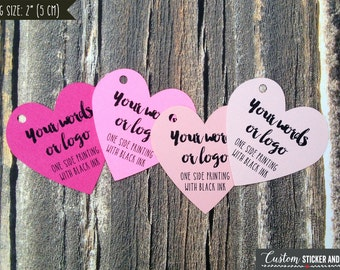 """36 heart tags 2"""", personalized tags, custom tags, logo tags, product tags, hang tag, bridal shower tags, gift tags, wedding favor tag (T-70)"""
