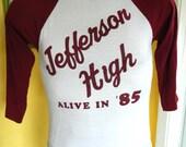 Jefferson High Alive in 85 vintage 3/4 sleeve maroon white - size medium