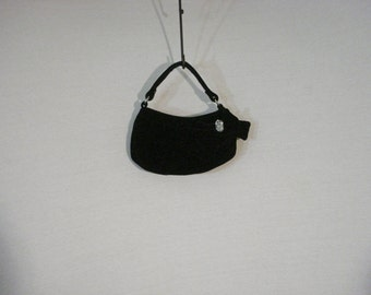 Hand Bag Evening Bag Black Velvet Thinestone Formal Accessory Old Hollywood Chic