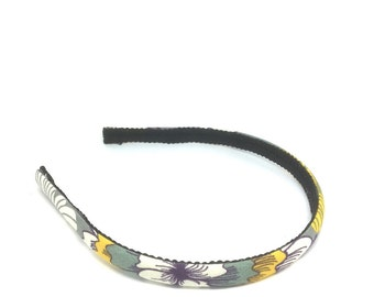 Skinny Floral Headband for Autumn and Fall - Charcoal Gray, White, Mustard, Purple - Preppy Fall Headband for girls and adults