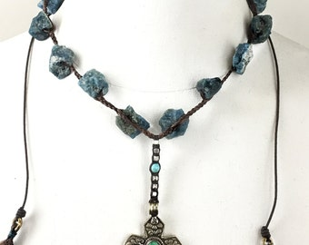 Braided Chunky Apatite Cross Necklace