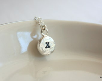 Personalized Necklace, Silver Initial Necklace, Silver Letter Charm Necklace, Hand Stamped Necklace