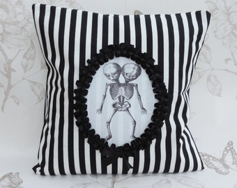 Conjoined Twins  pillow  cushion black white stripes