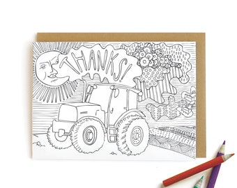 Tractor Thanks - letterpress card