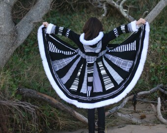 "CUSTOM ORDER DEPOSiT ""Ebony and Ivory"" Girls Pixie Coat sizes 3, 4, 5 6, 7, 8, 9, 10, 12 ,14"
