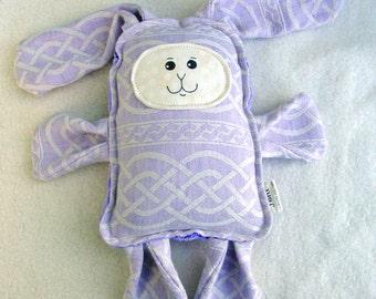 Lavender Bunny - Oscha Braids Lavender Wrap Scrap Bunny Pillow Plush - Hand Drawn Face