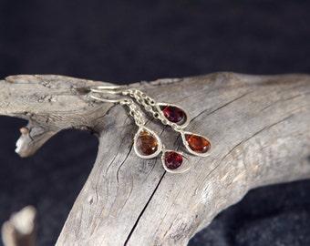 Jewel Tourmaline Petroleum Honey Drop Long Earrings in Sterling Silver