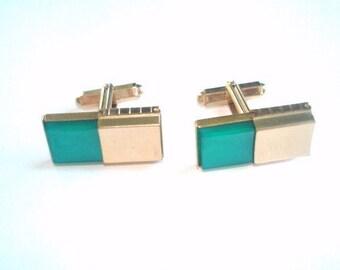 Kreisler Craft Turquoise Gold Cuff Links