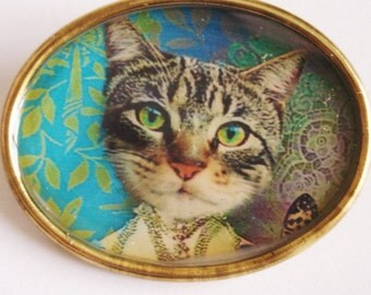 Cat Brooch Gold  Tone