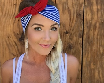 Patriotic Blue White Stripe Red Tie Jersey Knit Headband July 4th Fourth Turband Hair Head Band Accessories Patriots Boho Girl Accessory