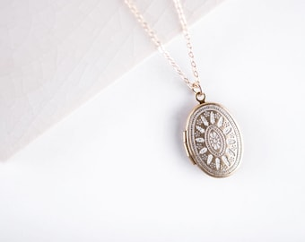 LONG Small White Ornate Locket Necklace, Oval Pendant, Delicate, 14kt Gold Filled Chain, Simple and Delicate Fashion