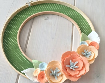 Handmade Felt Fabric Hoop Door Wreath Decoration - Peachy Keen 10""