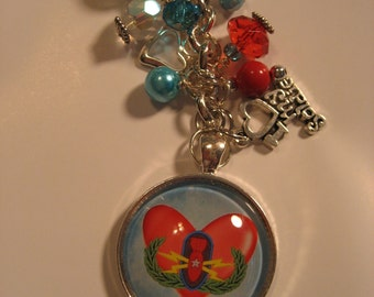 EOD SR badge with red Heart and Aqua background Beaded Dangle Key ring Purse charm  beaded keychain