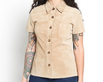 Vintage 90s Tan Soft Leather Suede Short Sleeve Button Up Top | S/M