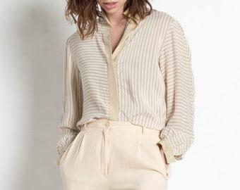 Vintage 80s Ivory Striped Silk Long Sleeve Blouse   M