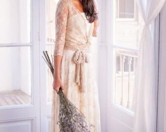 Long sleeve lace wedding dress, lace bridal gowns, Romantic wedding dress, lace gown, lace sleeves, Marriage, Lace maxi dress, weddings