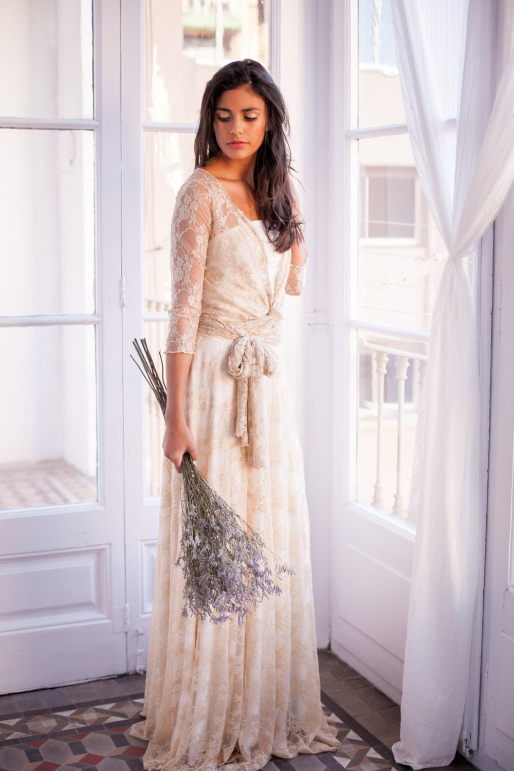 Long Sleeve Lace Wedding Dress Lace Bridal Gowns Romantic