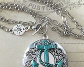 Blue Anchor Locket Necklace, Nautical Anchor Pendant, Silver Jewelry, Silver Necklace Pendent, Anchor Necklace