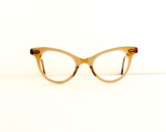 Cat Eye Eyeglasses Frames //Women's Vintage 1950's //Grey with Gold Design Frames//#M250  DIVINE