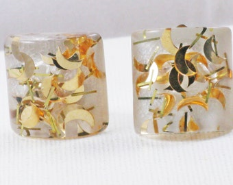 Vintage Gold Half Moon Confetti Clear Lucite Clip Earrings  (E-1-2)