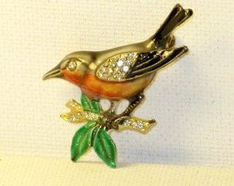 Vintage Enamel and Rhinestone Robin Bird Brooch Pin (B-3-7)