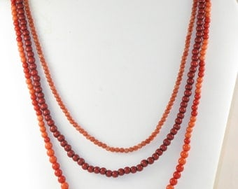 CLEARANCE SALE - Vintage Sunset Colored Resin Beaded Triple Strand Necklace (N-1-4)
